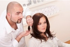 consulting with a hairstylist