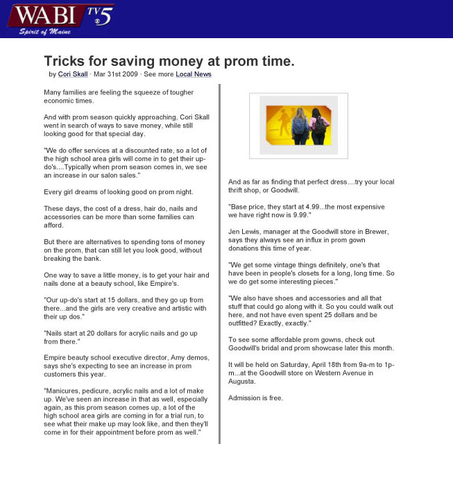 "Bangor, Maine Empire Beauty School Featured in WABI TV5 Report: ""Tricks for saving money at prom time"""