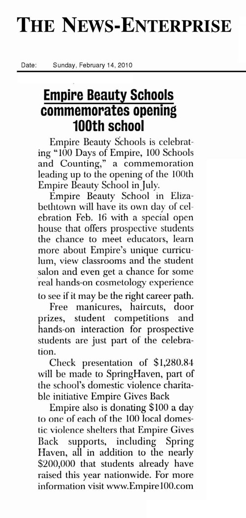 "Elizabethtown, Kentucky Empire Beauty School Featured in The News-Enterprise Article: ""Empire Beauty Schools commemorates opening 100th school"""
