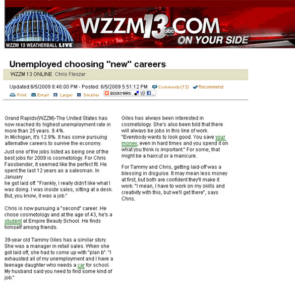 "Grand Rapids, Michigan Empire Beauty School Featured in WZZM13.com Article: ""Unemployed choosing 'new' careers"""