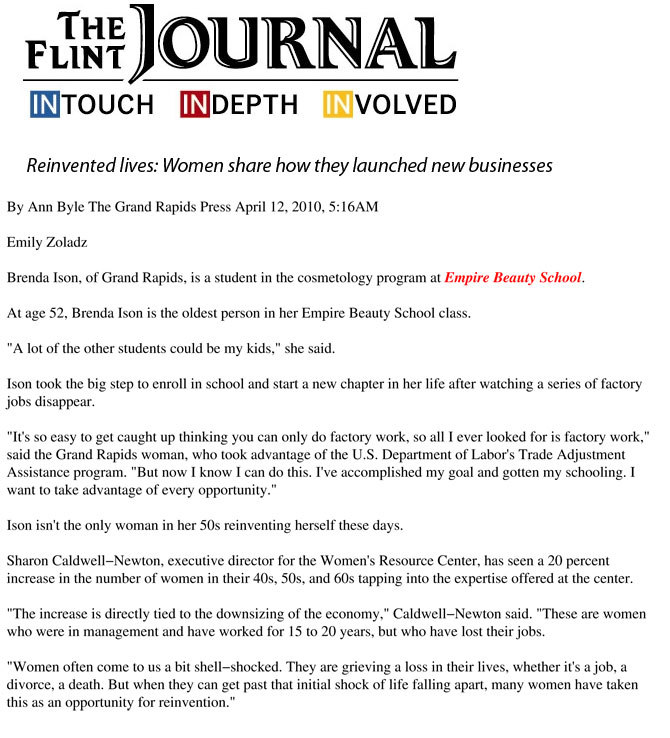 "Grand Rapids, Michigan Empire Beauty School Featured in The Flint Journal Article: ""Reinvented lives: Women share how they launched new businesses"""