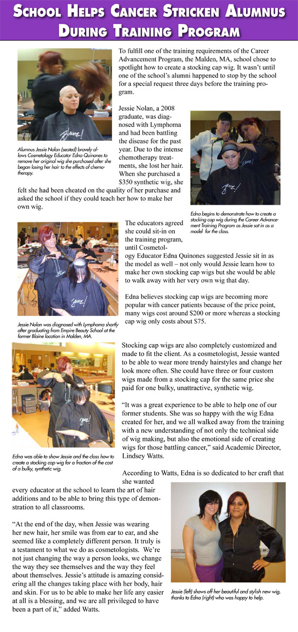 Malden, Massachusetts Empire Beauty School Helps Cancer Stricken Alumnus