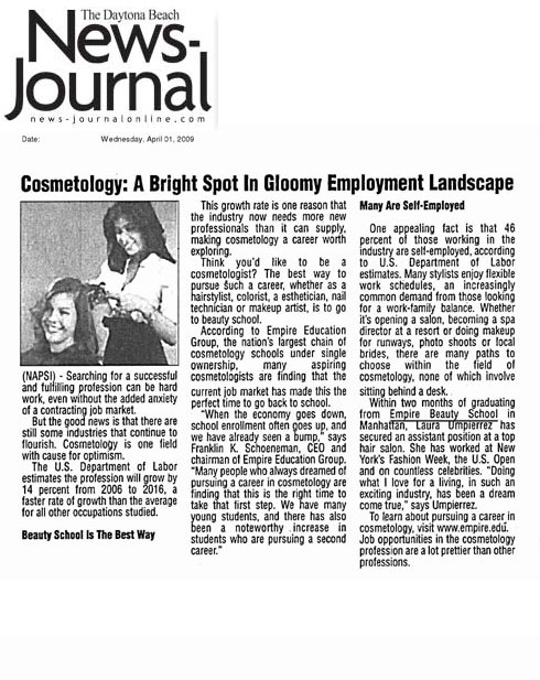 "Manhattan Empire Beauty School Graduate Featured in The Daytona Beach News-Journal Article: ""Cosmetology: A Bright Spot in Gloomy Employment Landscape"""