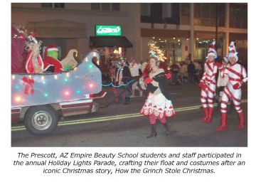 prescott cosmetology students light night holiday cheer