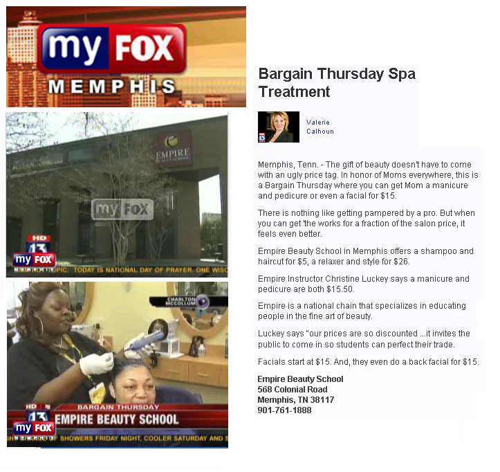 memphis tennessee empire beauty school featured fox memphis report bargain thursday spa treatment