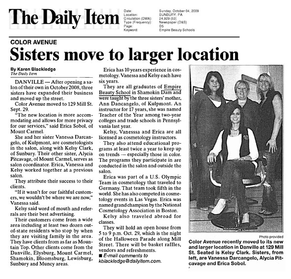 shamokin dam pennsylvania empire beauty school featured daily item article sisters move larger location