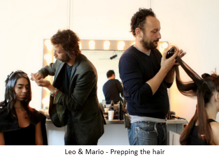 Master Artists prepping runway hair 1