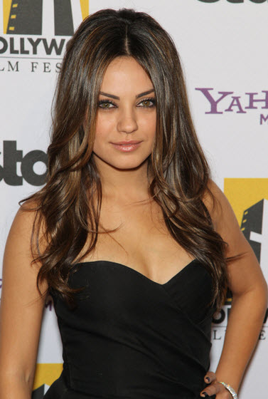 Mila Kunis Is A Great Example Of Long Hair With Layers On A Round Face.